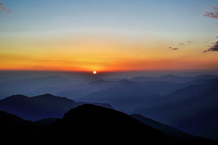 Sunrise in Chopta in the Himalayas