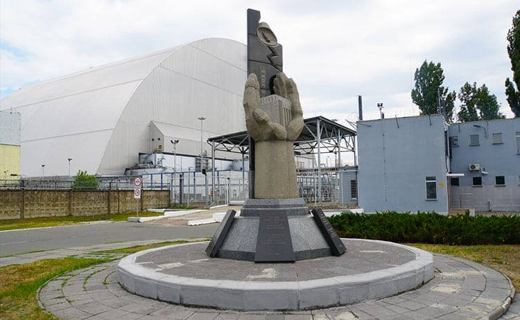 monument of dying people in the Tragedy of Chernobyl