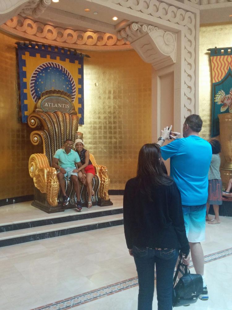 An image of Poseidon's throne chair at Atlantis Paradise Island, Bahamas