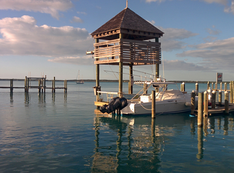 An image of a boat and dock taken in HDR