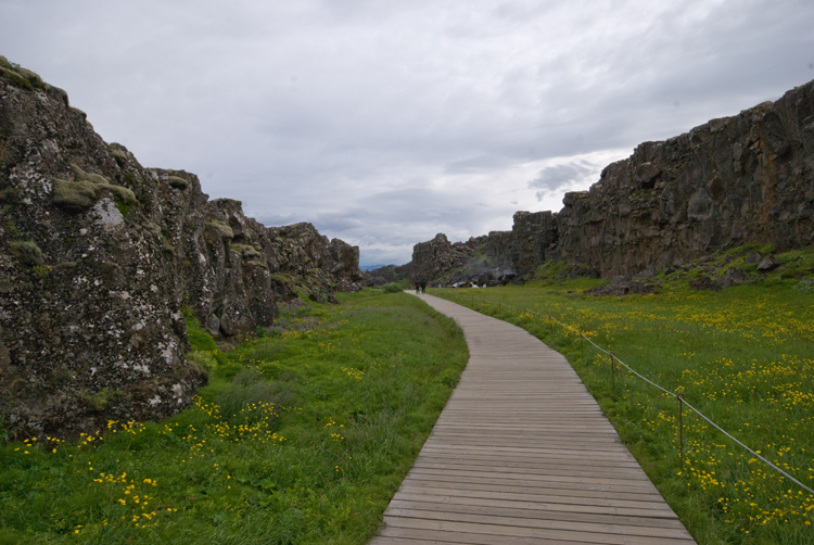 Image of the continental rift at Thingvellir National Park in Iceland.