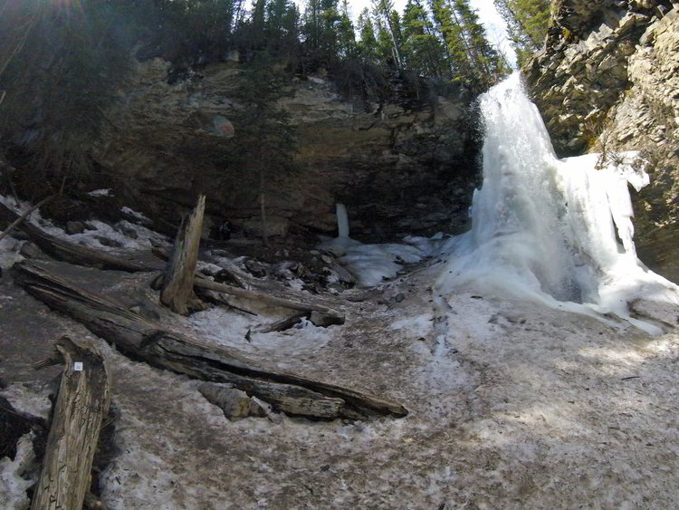A view of the frozen Troll Falls in Kananaskis, Alberta