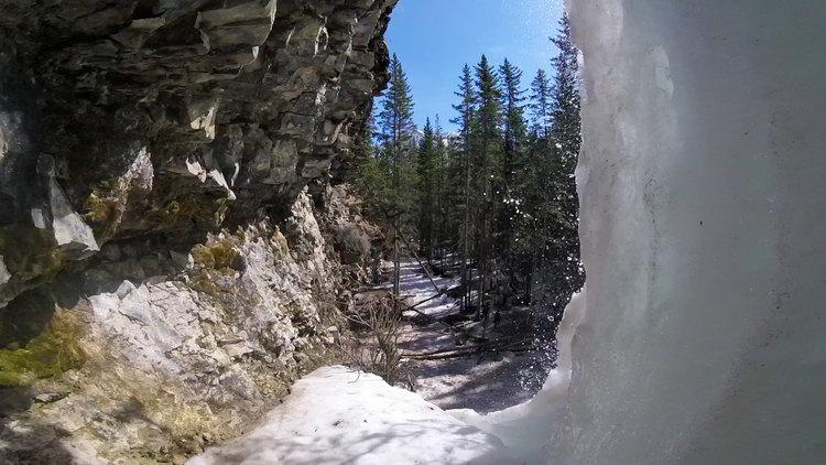 An image of the view behind Troll Falls in Kananaskis, Alberta