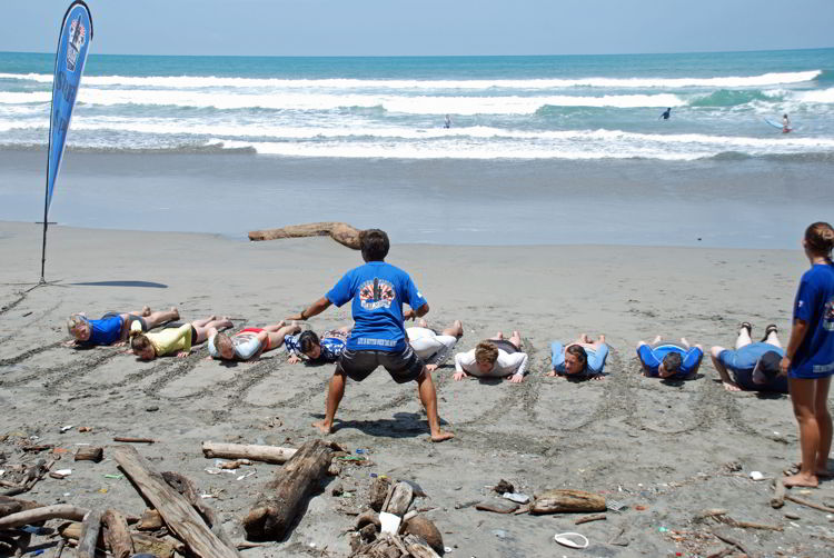 An image of a surfing class at Anamaya Resort in Costa Rica - Yoga Retreat Cista Rica