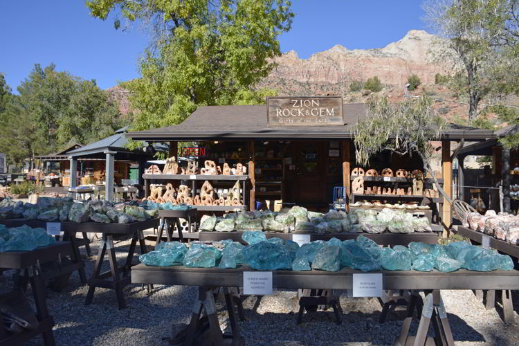 An image of Zion Rock and Gem store in Springdale Utah - Best Zion National Park Hikes