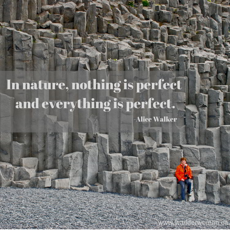 An image of the basalt columns in Reynisfjara, Iceland - meaningful quotes about nature - In nature nothing is perfect and everything is perfect - Alice Walker