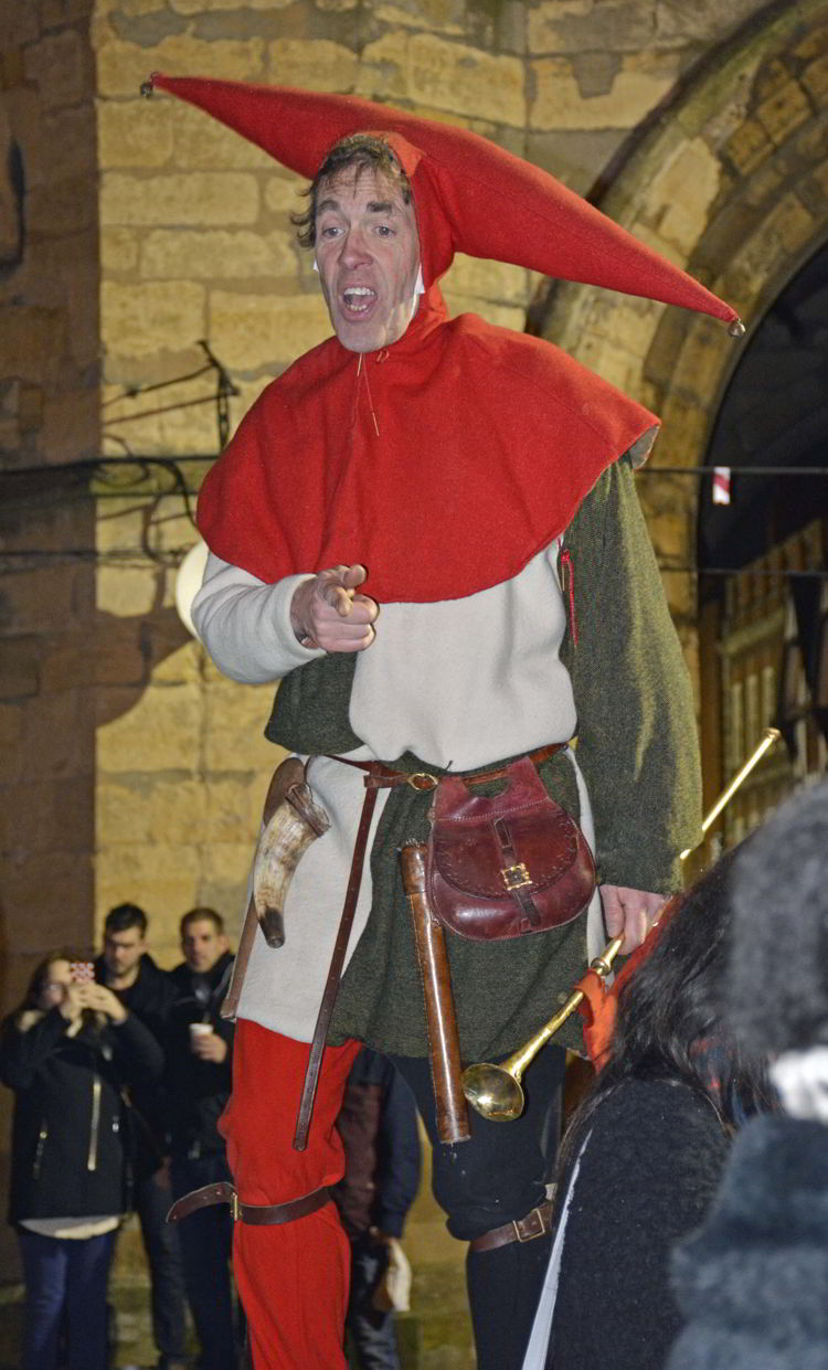 An image of a court jester at the Lincoln Christmas market in Lincolnshire, England.