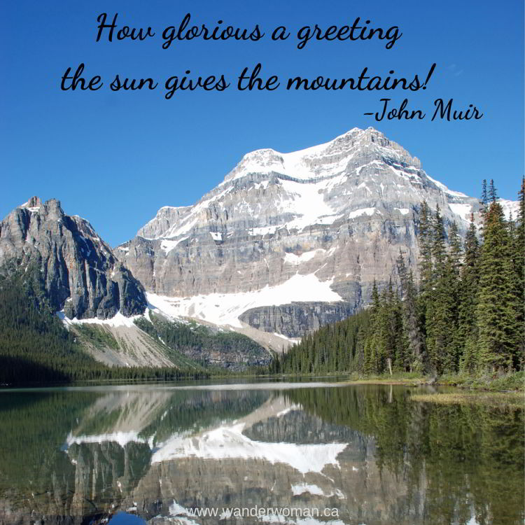 An image of Mount Ball and Shadow Lake in Banff National Park, Alberta, Canada. Meaningful quotes about nature. How glorious a greeting the sun gives the mountains! John Muir