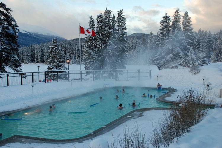 An image of the heated outdoor pool at the Fairmont Jasper Park Lodge in winter  - Jasper in winter - stunning photos