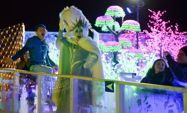An image of the ice queen at the Aurora Winter Festival in Vancouver, BC Canada - Vancouver Christmas Lights