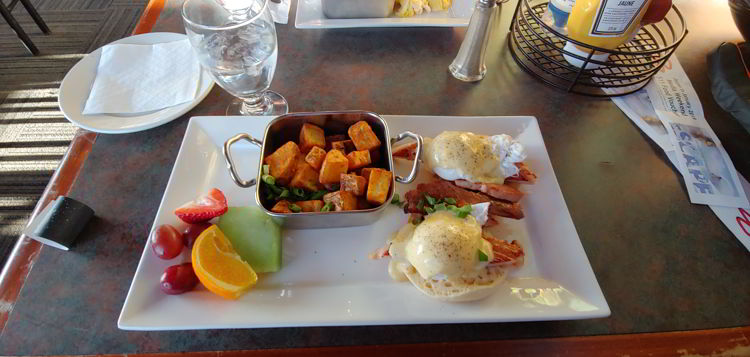 An image of a brunch plate including eggs Benedict at the Caribou Chalet at Marmot Basin in Jasper, Alberta - Jasper Skiing