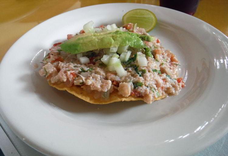 An image of a ceviche tostado from Ceviche El Guero in Puerto Vallarta, Mexico - the best tacos in Puerto Vallarta