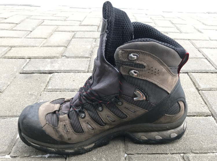 Image of a hiking boot that does not have ice cleats on it.