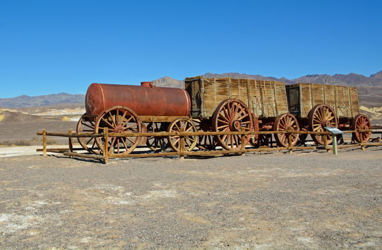 An image of a wagon at Harmony Borax Works in Death Valley National Park in California - visiting Death Valley