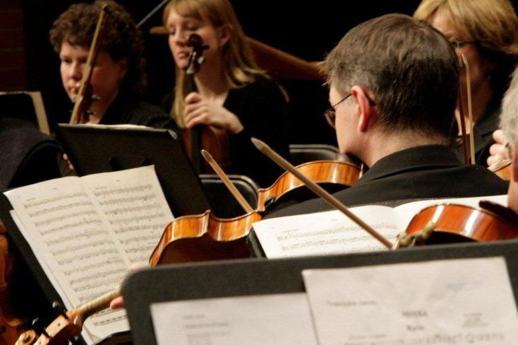 An image of musicians playing violins at the Red Deer Symphony Orchestra in Red Deer, Alberta, Canada.
