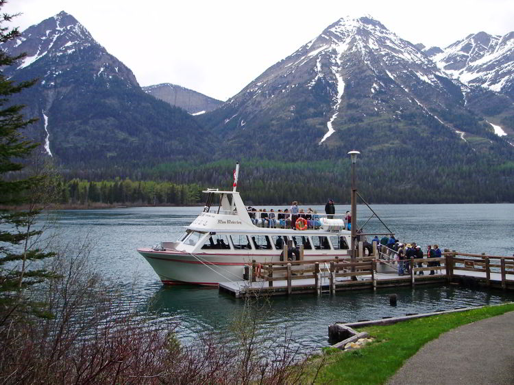 An image of the  historic M.V. International, which plies Upper Waterton Lake - things to do in Waterton.