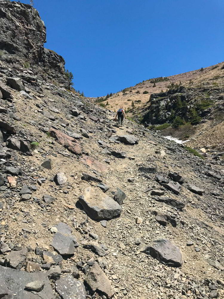 A view of the Table Mountain Alberta trail where you have to do some scrambling.