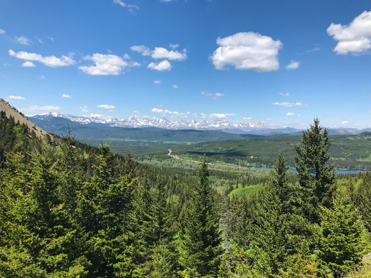 An image of the view from the trail on the Table Mountain hike in Alberta, Canada.