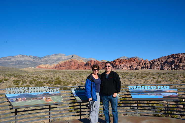 An image of two people standing outside the visitor center at Red Rock Canyon near Las Vegas.