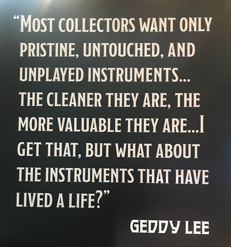 An image of a quote by Geddy Lee about his bass guitar collection.
