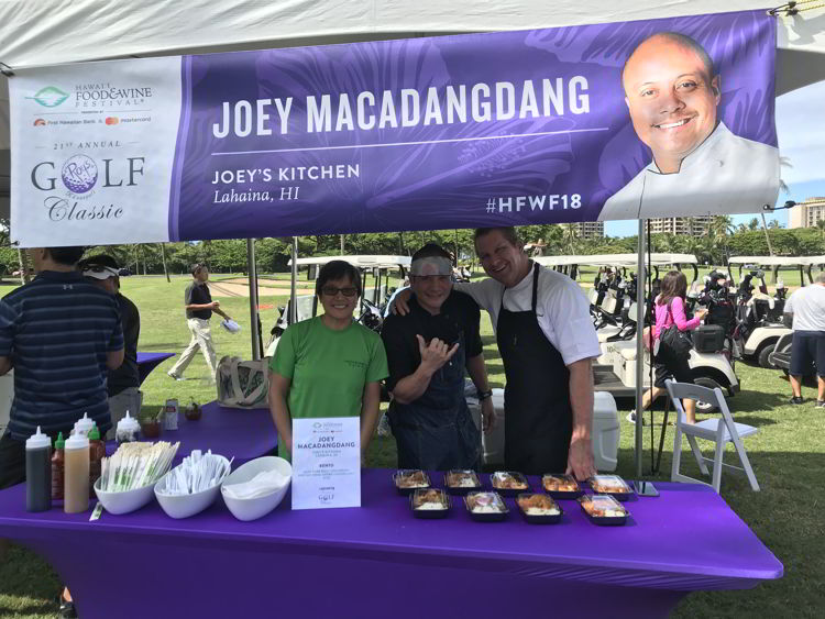 An image of Joey Macadangdang at Roy's Golf Classic at the Kāʻanapali Golf Course - Hawaii Food and Wine Festival.