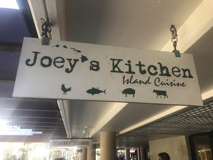 An image of the sign for Joey's restaurant in Kāʻanapali, Maui.