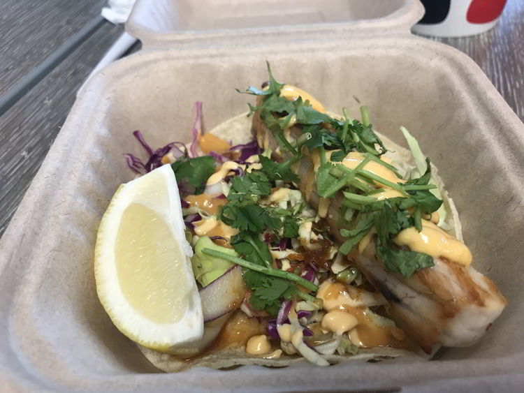 An image of the fish taco from Joey's Kitchen in Kāʻanapali, Maui.