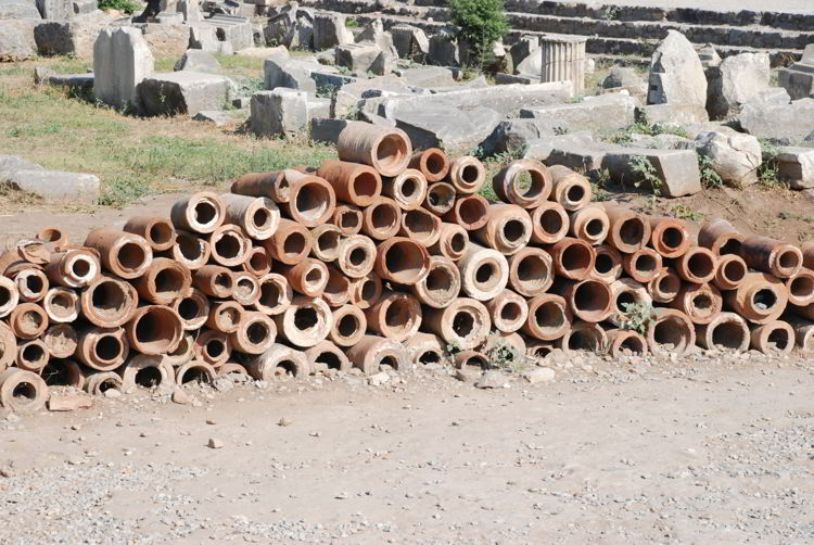An image of clay pipes in Ephesus, Turkey