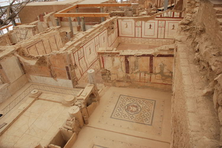 An image of the intricate tile work and frescos in the Terrace Houses in ancient Ephesus.