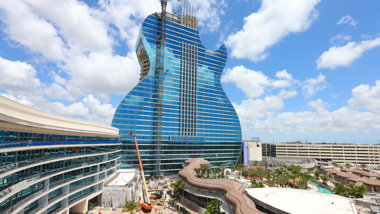 An image of the Hard Rock hotel in Hollywood, Florida - quirky accommodation