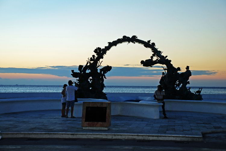 An image of the Cozumel promenade at sunset - Riviera Maya excursions