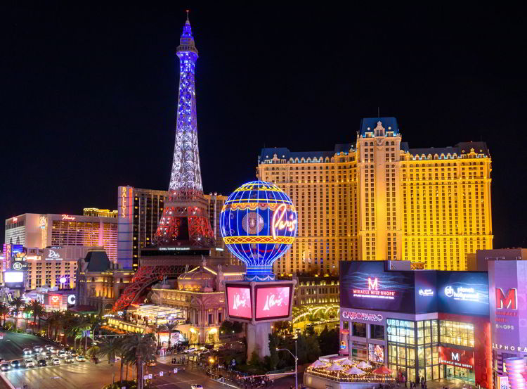 An image of the exterior of the Paris Hotel in Las Vegas.