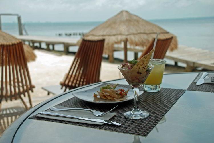 An image of ceviche at Capitán Dulché Beach Club restaurant - Isla Mujeres tour.