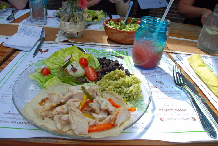 An image of the organic chicken taco at Flora Farms Field Kitchen in Cabo San Lucas, Mexico.