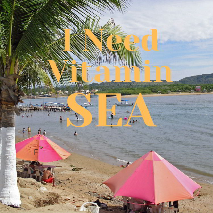"""An image of a beach scene with the quote - """"I need vitamin sea"""""""
