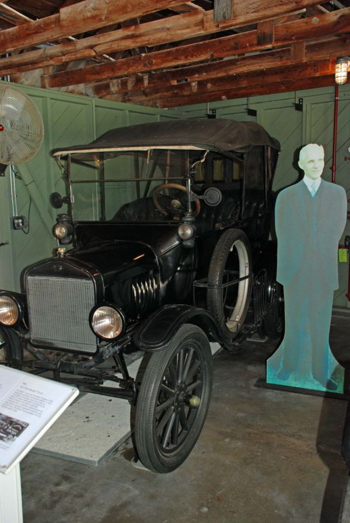 An image of a model T Ford with a cutout of Henry Ford at the Ford Edison Winter Estates in Fort Myers, Florida.