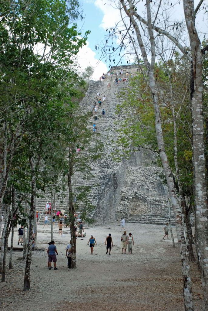 An image of the Nohoch Mul Pyramid at Coba near Cancun, Mexico.