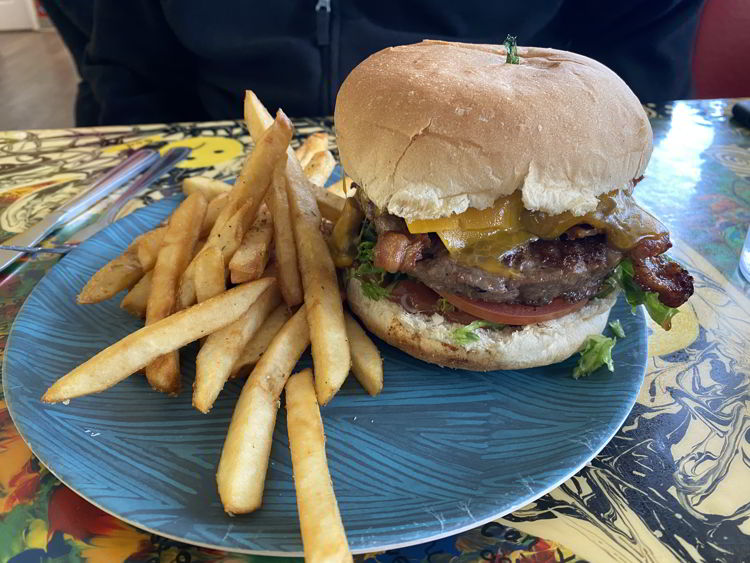An image of a burger and fries from Bernie and the Boys Bistro in Drumheller, Alberta.