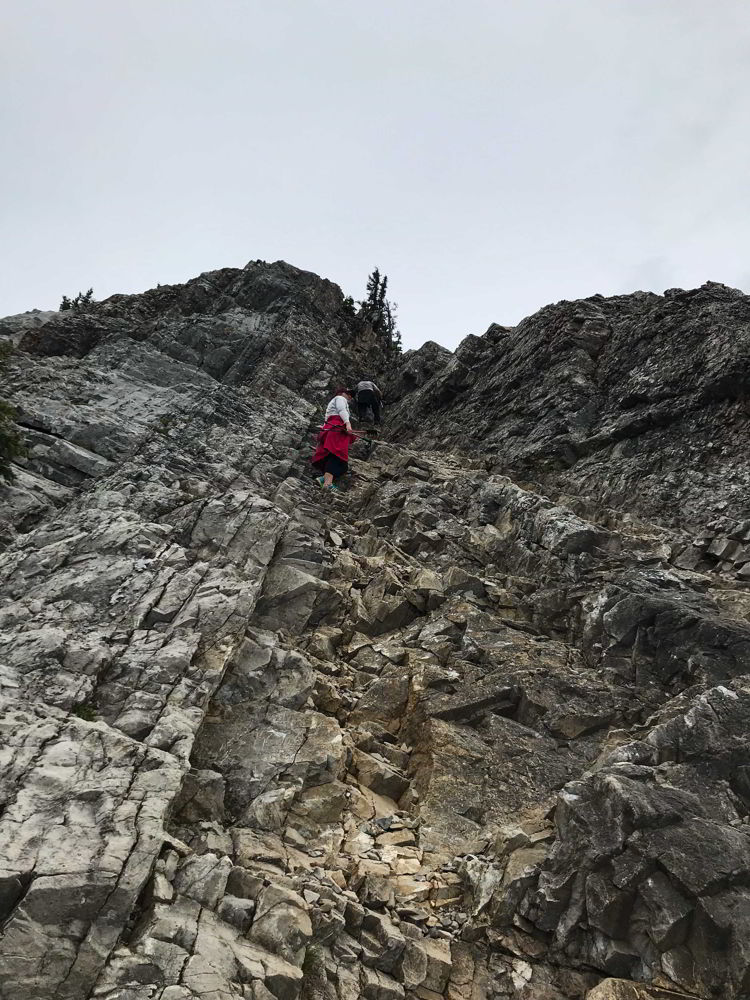An image of the steepest climb on the Heart Mountain trail near Canmore, Alberta.