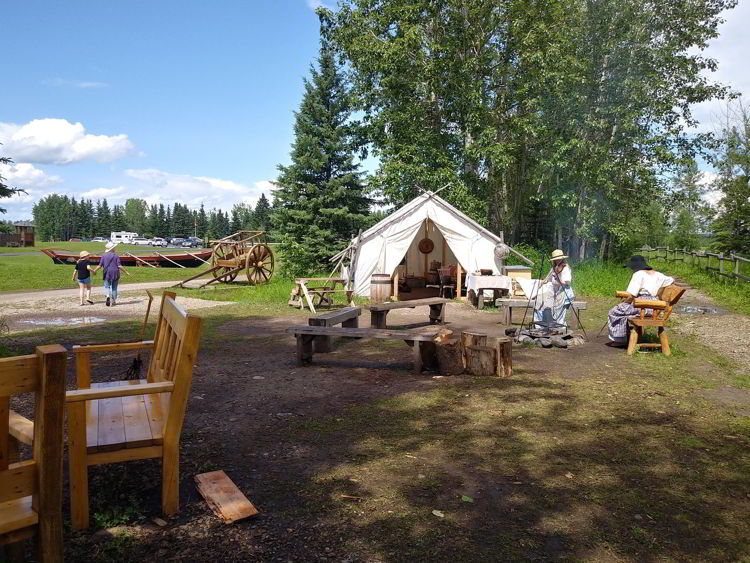 An image of a trapper's tent at Rocky Mountain House National Historic Site of Canada - Glamping in Alberta.
