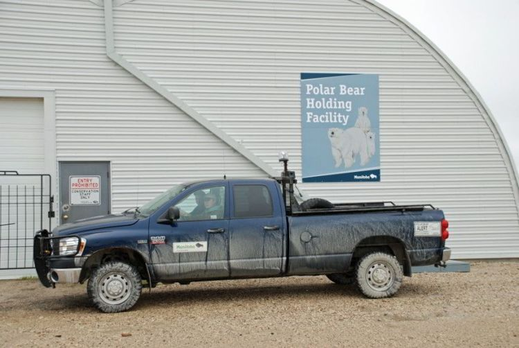 An image of the polar bear holding facility in Churchill, Manitoba, Canada. Polar bear watching.