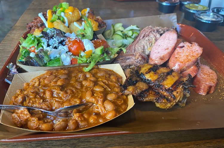 An image of a plate of food from Skinny's  Smokehouse in Medicine Hat, Alberta, Canada.