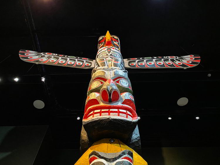 An image of a totem pole at the Royal Alberta Museum in Edmonton, Alberta.