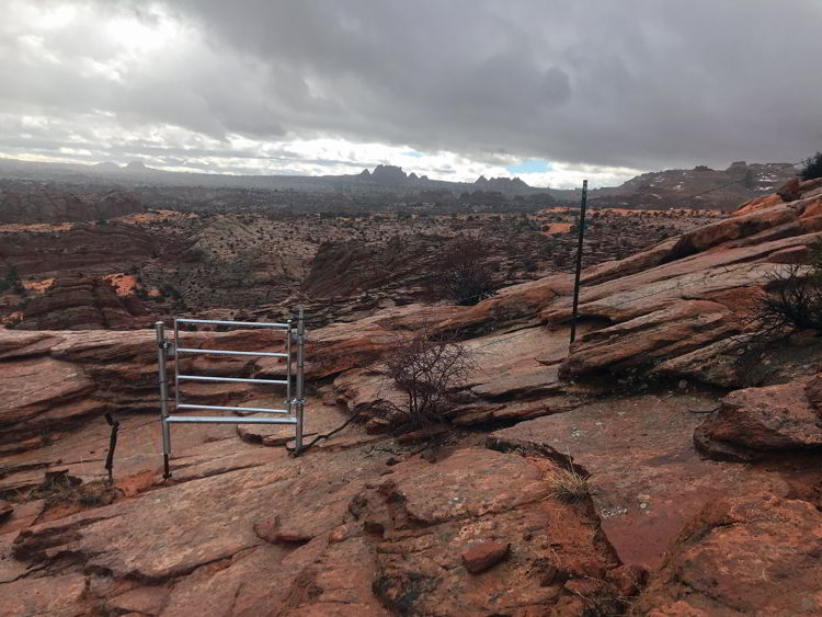 An image of the boundary between the state of Utah and the state of Arizona on the Wave hike.