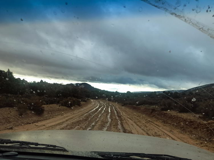 An image of a muddy road on the drive to the wave hike in Arizona, USA.