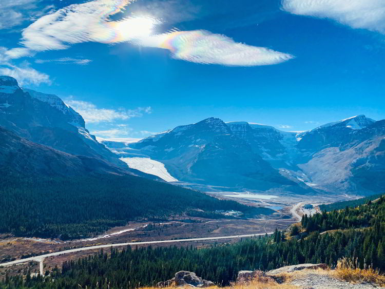 An image of the Athabasca Glacier as seen from the Wilcox Pass trail on the Icefields Parkway in Jasper National Park in Alberta, Canada.