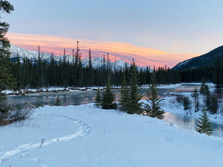 An image of the Bow Valley Parkway in winter in Banff National Park, Alberta, Canada - from Banff to Jasper drive.