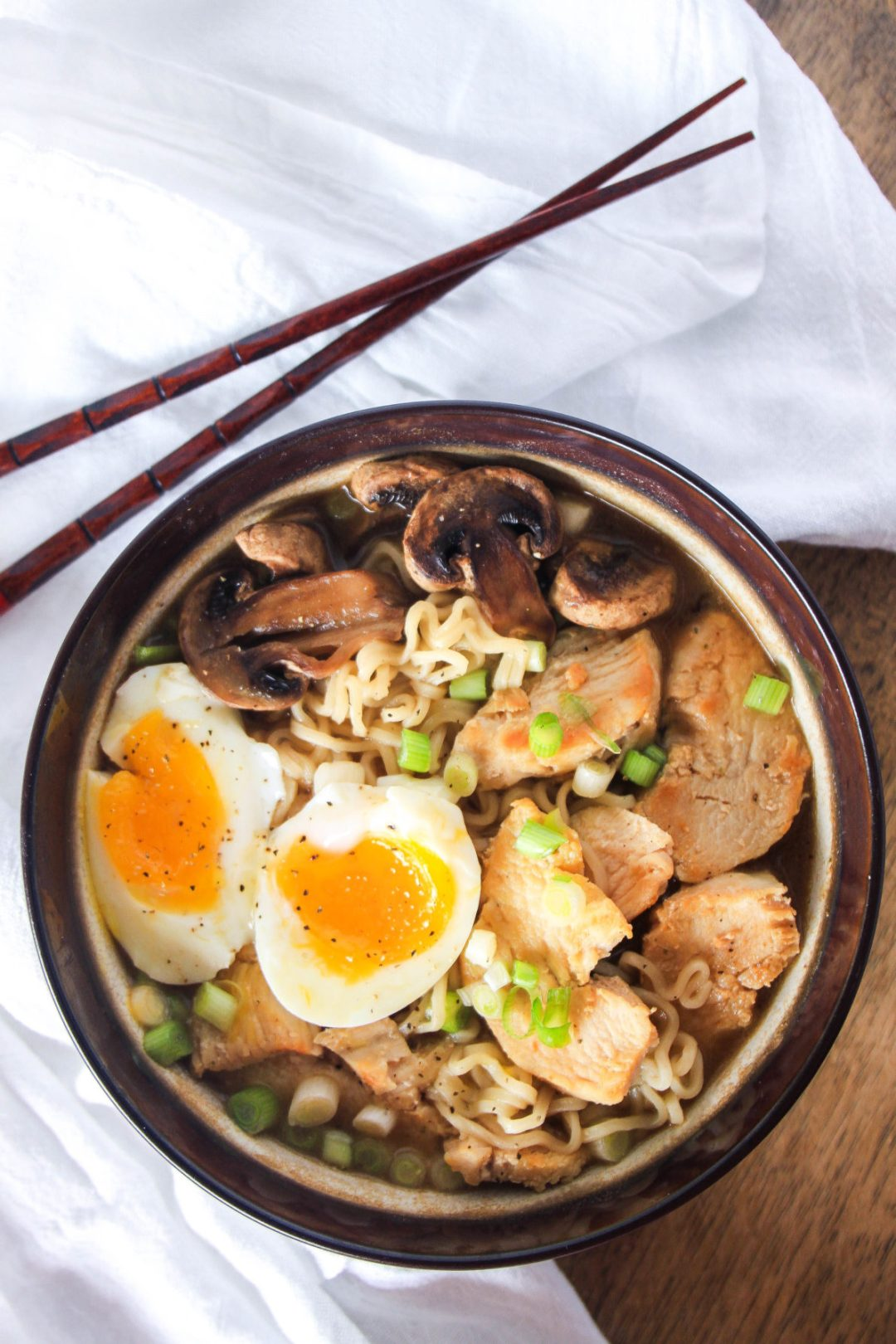 Never settle for boring ramen ever again. Adding a few simple ingredients: onions, egg, shitake, and chicken, will instantly up your ramen game.