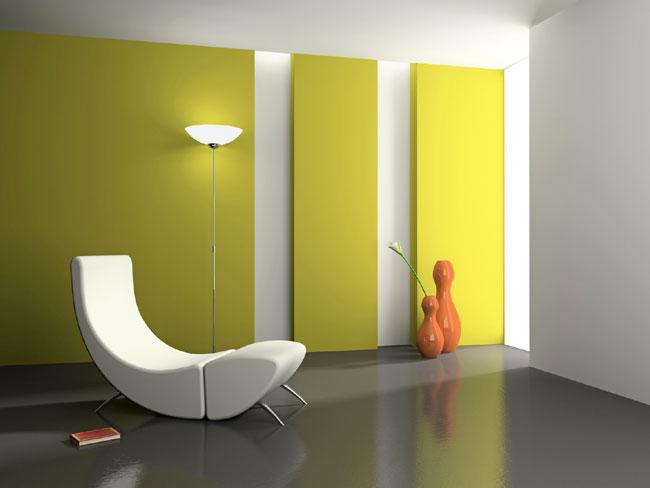 wohnzimmer wandgestaltung gelb streichen moderne deko   ld ... - Tipps Zur Kinderzimmer Wandgestaltung Mit Farbe Gelb