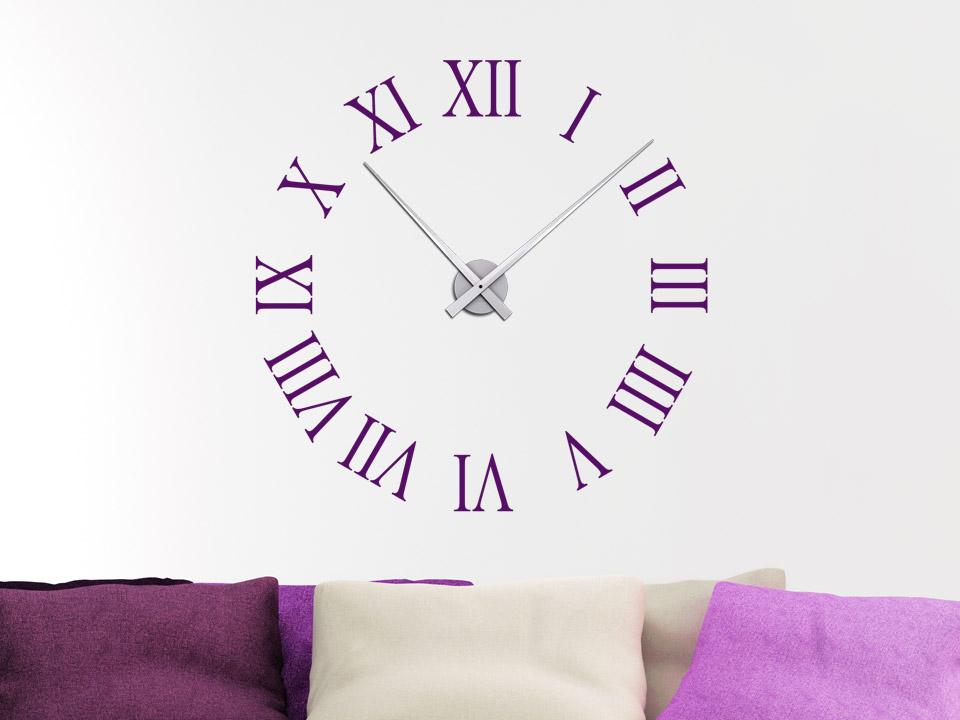 Wandtattoo Uhr Rmische Zahlen  Wanduhr  Wandtattoocom